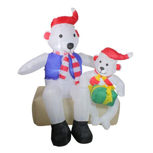 4' Inflatable Polar Bear Family Lighted Christmas Yard Art Decor - IMAGE 1