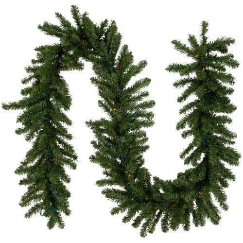 "9' x 12"" Pre-Lit Canadian Pine Artificial Christmas Garland - Multi Lights - IMAGE 1"