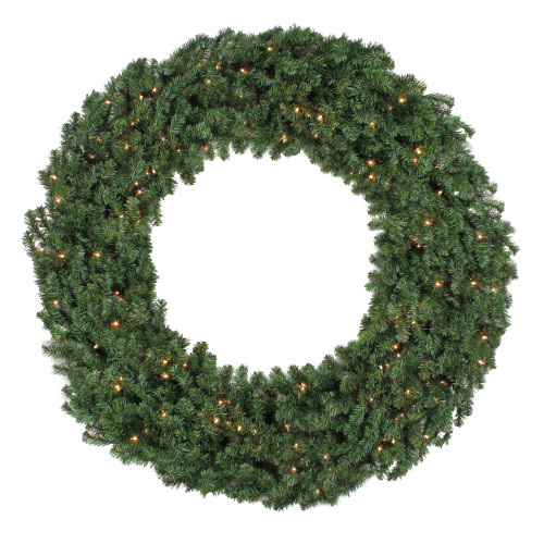 5' Pre-Lit Commercial Canadian Pine Artificial Christmas Wreath - Clear Lights - IMAGE 1