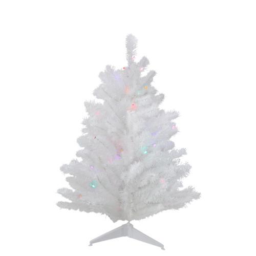 3' Pre-Lit LED Snow White Artificial Christmas Tree - Multi Lights - IMAGE 1