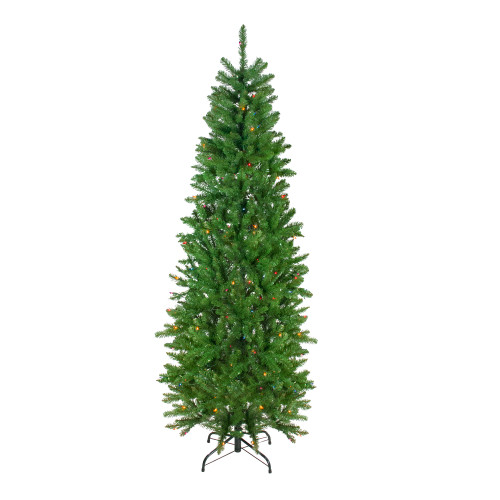 6.5' Pre-Lit Pencil River Fir Artificial Christmas Tree - Multicolor Lights - IMAGE 1