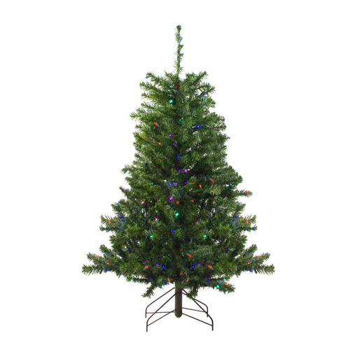 4' Pre-Lit Medium Canadian Pine Artificial Christmas Tree - Multicolor LED Lights - IMAGE 1