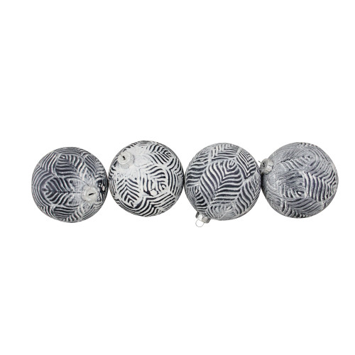 "4ct White and Gray Antique Glass Christmas Ball Ornaments 4"" (100mm) - IMAGE 1"