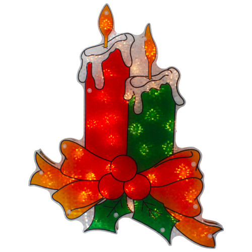 """17"""" Lighted Holographic Candle Christmas Window Silhouette Decoration - IMAGE 1"""