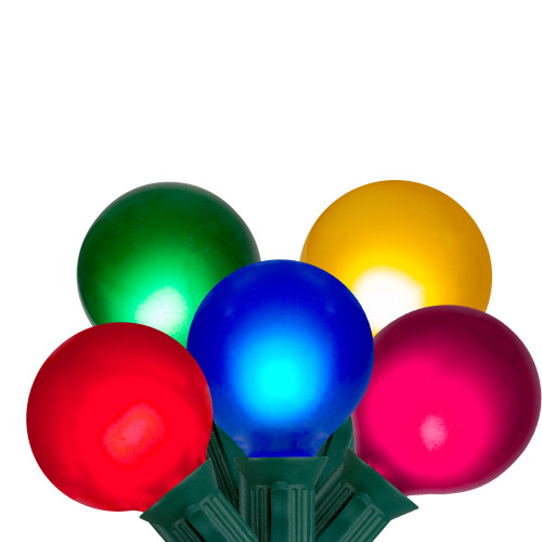 15-Count Multi-Color Satin G50 Globe Christmas Light Set, 13.75ft Green Wire - IMAGE 1
