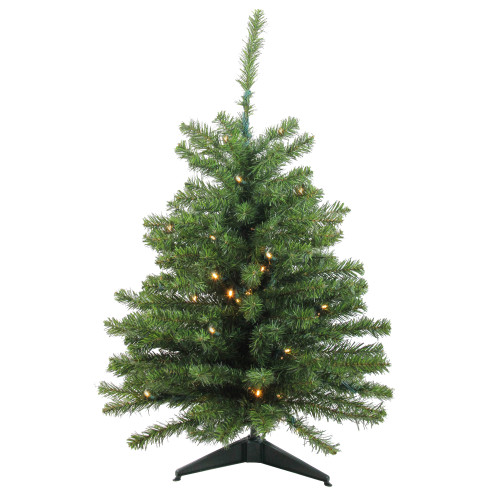 3' Pre-Lit Green Medium Canadian Pine Artificial Christmas Tree - Clear LED Lights - IMAGE 1