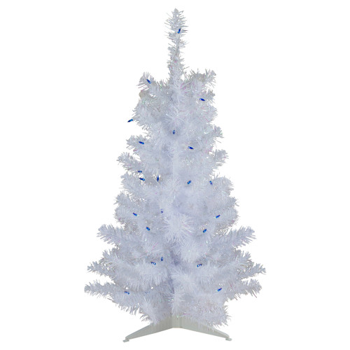 3' Pre-Lit White Pine Slim Artificial Christmas Tree - Blue Lights - IMAGE 1
