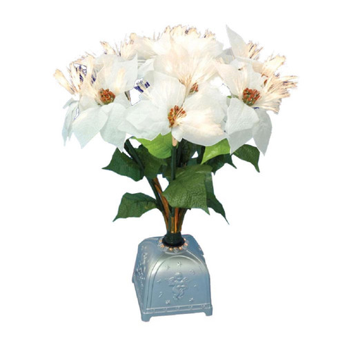 "20"" Pre-Lit White and Green Poinsettia Artificial Christmas Plant - IMAGE 1"
