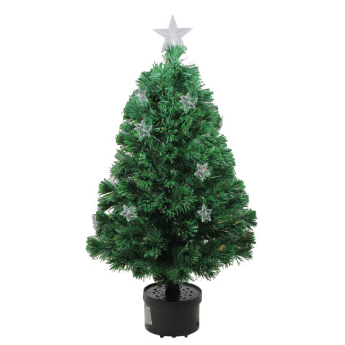 4' Pre-Lit Potted Fiber Optic Artificial Christmas Tree with Stars - Multicolor Lights - IMAGE 1