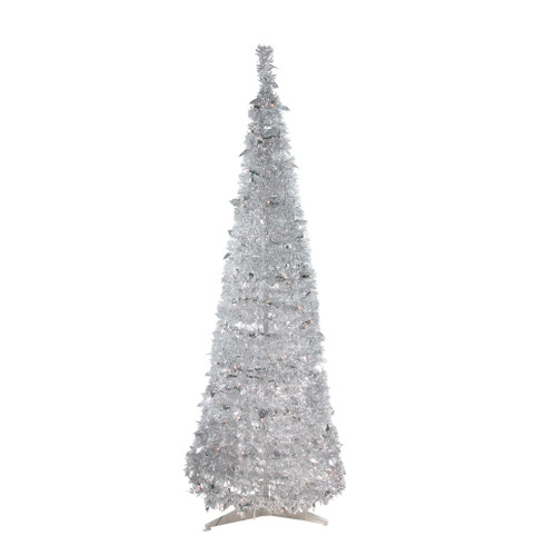 6' Pre-Lit Silver Tinsel Pop-Up Artificial Christmas Tree - Clear Lights - IMAGE 1