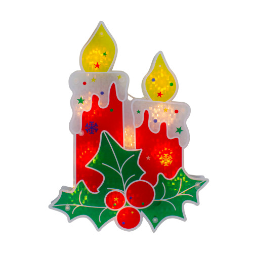 """12"""" Red Lighted Berry Candle Christmas Window Silhouette Decoration - IMAGE 1"""