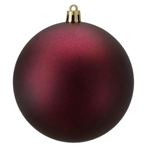 "Matte Burgundy Shatterproof Christmas Ball Ornament 4"" (100mm) - IMAGE 1"