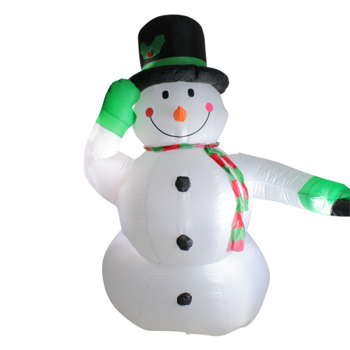 8' White and Green Animated Inflatable Lighted Standing Snowman Christmas Outdoor Yard Art Decor - IMAGE 1