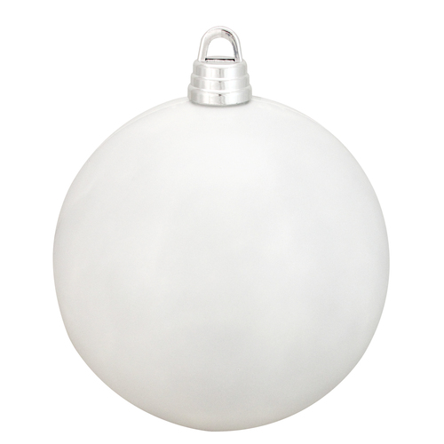 "Shiny Winter White Shatterproof Christmas Ball Ornament 12"" (300mm) - IMAGE 1"