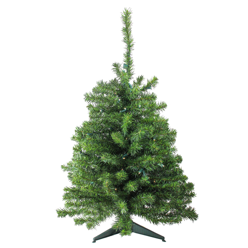 3' Pre-Lit Green Medium Canadian Pine Artificial Christmas Tree - Clear and White LED Lights - IMAGE 1