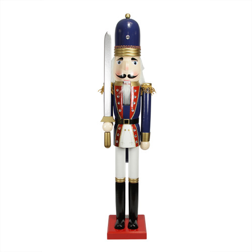 """48.25"""" Blue and White Christmas Nutcracker Soldier with Sword - IMAGE 1"""