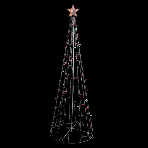 6' Red and Green Lighted Show Cone Christmas Tree Outdoor Decoration - IMAGE 1