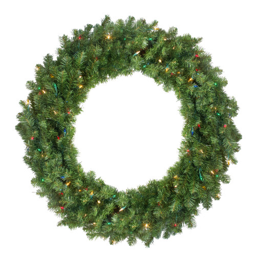 Pre-Lit Canadian Pine Artificial Christmas Wreath - 30-Inch, Multi Lights - IMAGE 1