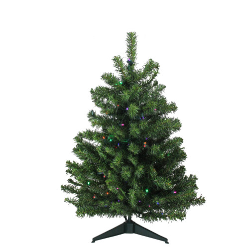 3' Pre-Lit Full Canadian Pine Artificial Christmas Tree - Multicolor LED Lights - IMAGE 1