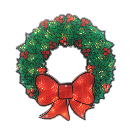"15"" Lighted Holographic Christmas Wreath Window Silhouette Decoration - IMAGE 1"