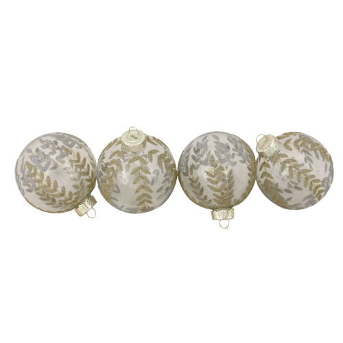 """4ct Clear and Gold Leaf Design Christmas Ball Ornaments 3.25"""" (80mm) - IMAGE 1"""