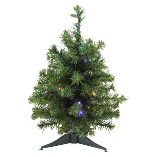 1.5' Pre-Lit Canadian Pine Artificial Christmas Tree - Multicolor Lights - IMAGE 1
