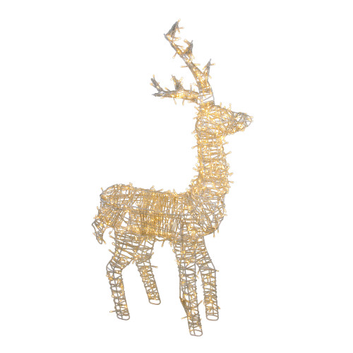 "48"" Pre-Lit White LED Upright Standing Reindeer Christmas Outdoor Decoration - IMAGE 1"