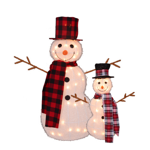 "Set of 2 Lighted Tinsel Snowman Family Christmas Outdoor Decorations, 35"" - IMAGE 1"