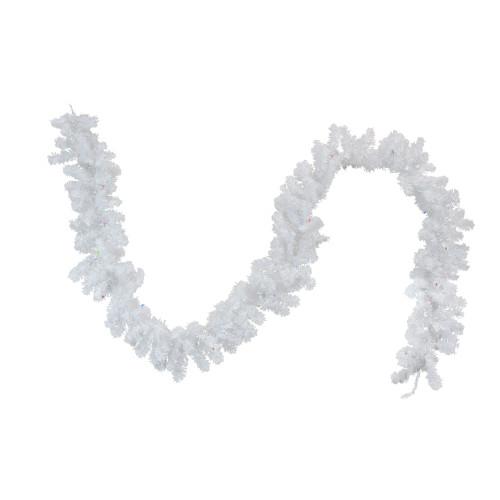 "9' x 10"" Pre-Lit LED White Artificial Christmas Garland - Multi Lights - IMAGE 1"