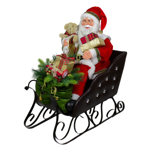 """32"""" Red Traditional Jolly Santa Claus in Jewel Sleigh Christmas Figurine - IMAGE 1"""