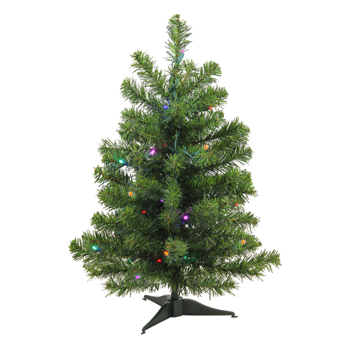 2' Pre-Lit Medium Canadian Pine Artificial Christmas Tree - Multicolor Lights - IMAGE 1