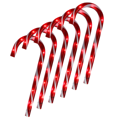 """Set of 6 Pre-Lit Red and White Blinking Candy Cane Outdoor Christmas Pathway Markers 12"""" - IMAGE 1"""