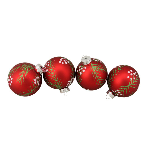 """4ct Matte Red with Pine Needles Glass Christmas Ball Ornaments 3.25"""" (80mm) - IMAGE 1"""