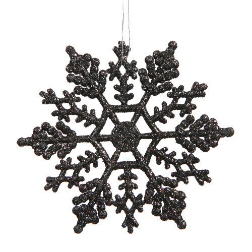 "Club Pack of 24 Jet Black Glittered Snowflake Hanging Christmas Ornaments 4"" - IMAGE 1"