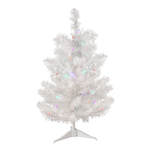 2' Pre-Lit Medium Frosted Artificial Christmas Tree - Multicolor LED Lights - IMAGE 1