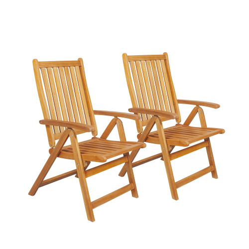 """Set of 2 Brown Acacia Folding Chairs Outdoor Patio Furniture 42"""" - IMAGE 1"""