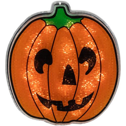 "13"" Orange and Black Lighted Jack O' Lantern Pumpkin Halloween Window Silhouette Decoration - IMAGE 1"