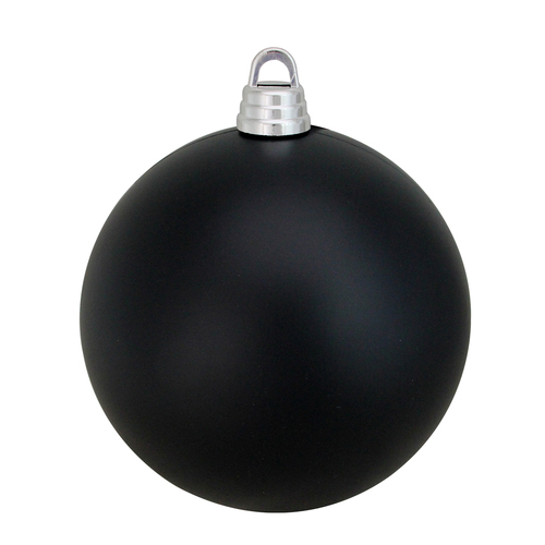 "Matte Jet Black Shatterproof Christmas Ball Ornament 12"" (300mm) - IMAGE 1"