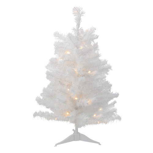 3' Pre-Lit LED Snow White Medium Artificial Christmas Tree - Clear Lights - IMAGE 1