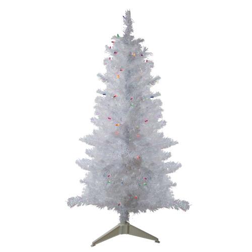 4' Pre-lit White Iridescent Pine Artificial Christmas Tree - Multi Lights - IMAGE 1