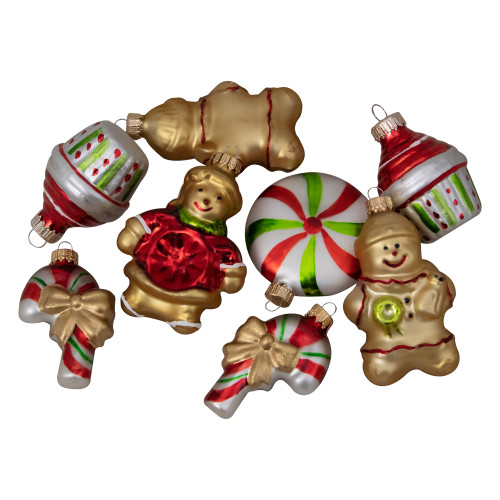 """Pack of 8 Gold and Red Gingerbread Men with Sweet Treats Christmas Ornaments 3"""" - IMAGE 1"""