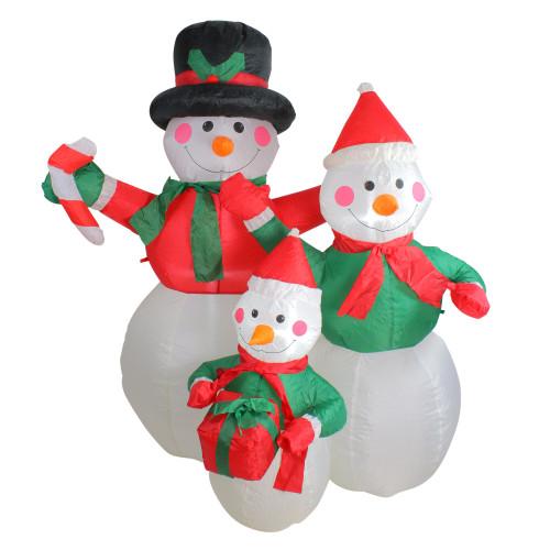 4' Inflatable Snowman Family Lighted Christmas Yard Art Decor - IMAGE 1