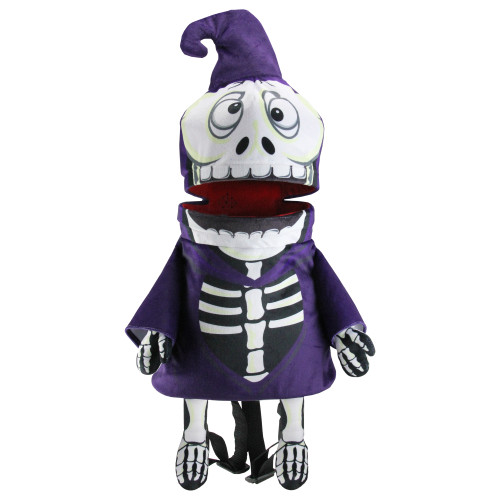 """24"""" Purple and Black Skeleton Unisex Child Halloween Trick or Treat Bag Costume Accessory - One Size - IMAGE 1"""