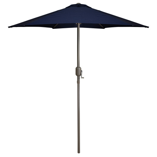 7.5ft Outdoor Patio Market Umbrella with Hand Crank, Navy Blue - IMAGE 1