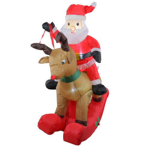 4.75' Pre-Lit Red Inflatable Rocking Reindeer and Santa Outdoor Christmas Yard Decor - IMAGE 1