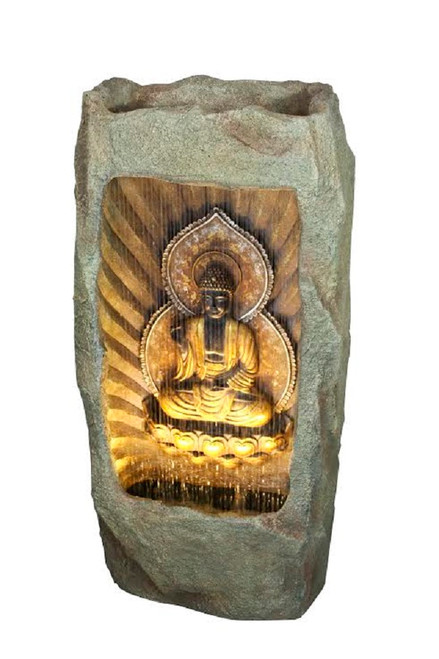 """39.25"""" Gold and Gray LED Lighted Buddha Outdoor Garden Water Fountain - IMAGE 1"""