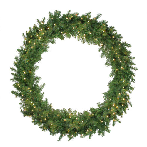 Pre-Lit Northern Pine LED Artificial Christmas Wreath - 48-Inch, Warm White Lights - IMAGE 1