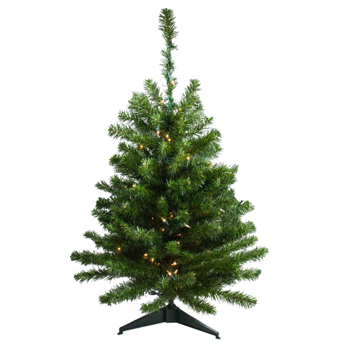 3' Pre-Lit Full Canadian Pine Artificial Christmas Tree - Clear Lights - IMAGE 1