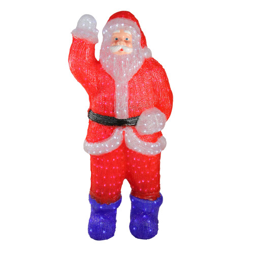 3.75' Red and Blue Lighted Commercial Grade Santa Claus Outdoor Christmas Decor - IMAGE 1