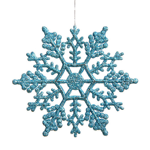 "Club Pack of 24 Turquoise Blue Glitter Snowflake Christmas Ornaments 4"" - IMAGE 1"